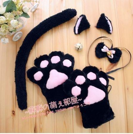萌え萌えにゃんこセット 猫耳 しっぽコスプレセット  黒  コスプレ小物