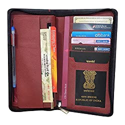Style98 Pure Leather Black & Red Men Long Travel Wallet with Card Holder & Coin Pocket