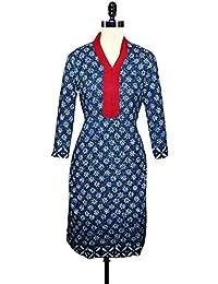 Unnati Silks Women Pracheen Kala Navy Blue Cotton Dabu Printed Kurta