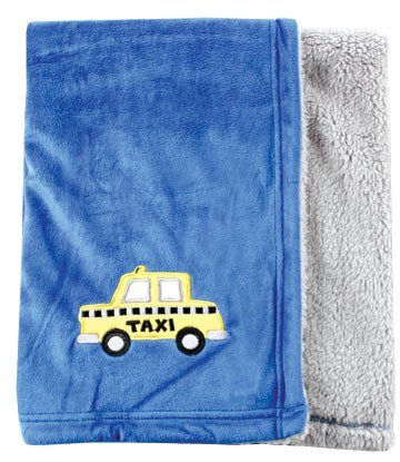 Hudson Baby Applique Two-Sided Blanket, Blue (Discontinued by Manufacturer) - 1