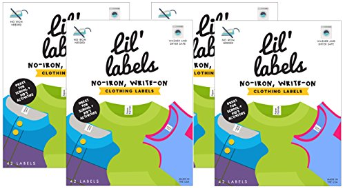 Lil' Labels Clothing Labels, Write On Name, No Iron, Washer and Dryer Safe, Kids Label for Daycare and School, Set of 4 (Freezer Lable compare prices)