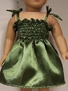 """Green Satin Sundress Summer Dress Doll Clothes Outfit Fits American Girl 18"""" Doll July Ivy Girl of Today Just Like Me"""
