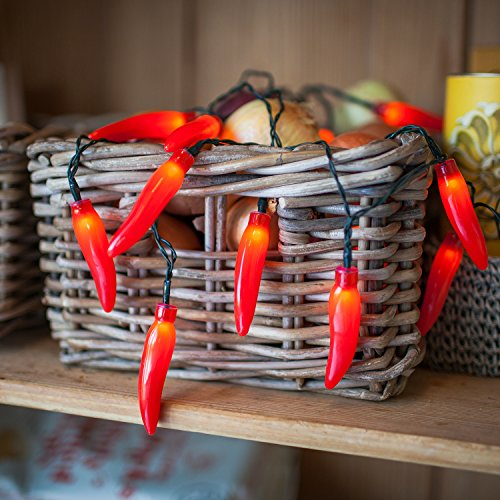 20 Red Chili Pepper Battery Operated LED String Lights (Chili Pepper Strings compare prices)