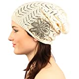 Pretty Floral Applique Soft Thin Knit Long Beanie Slouchy Skull Hat Cap Ivory