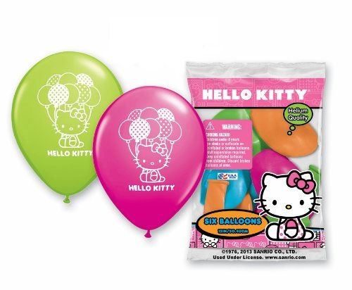 Hello Kitty Party Supplies Helium Latex Balloons 6ct