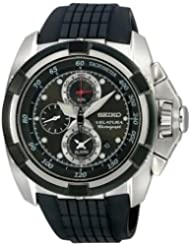 Seiko Velatura Chronograph Black Rubber Strap Mens Watch SNAA93