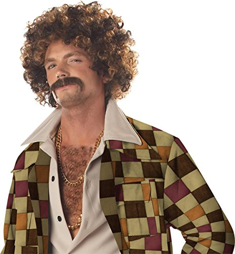 Disco Dirt Bag Wig & Moustache Costume Accessory