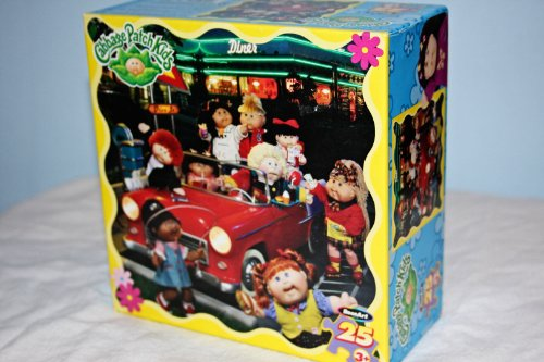 Cabbage Patch Kids hanging out at a diner Drive-in in a Classic Red Car Puzzle - 1