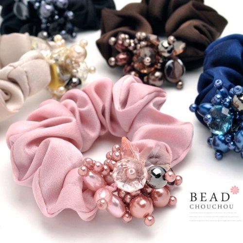 Jewel-like brilliance volume beaded scrunchie (assort 3 pieces)
