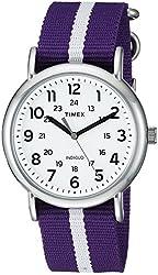 Timex Unisex TW2P684009J Weekender Varsity Row Analog Display Quartz Purple Watch