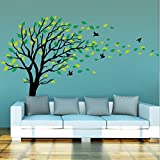 Large Dark and Green Tree Blowing in the Wind Tree Wall Decals Wall Sticker Vinyl Art Kids Rooms Teen Girls Boys Wallpaper Murals Sticker Wall Stickers Nursery Decor Nursery Decals (Color: Black green)