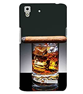 Blue Throat Glass Of Whisky With Cigar Printed Designer Back Cover For Oppo R7