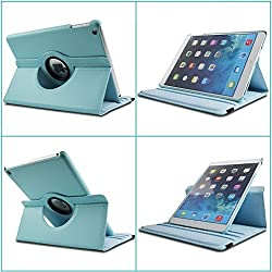 """TGKâ""""¢ 360 Degree Rotating Leather Case Cover Stand For iPad 4, iPad 3, iPad 2 (Sky Blue)"""