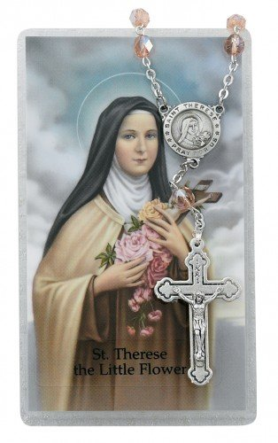 AUTO ROSARY - ST. THERESE AUTO ROSARY & PRAYER CARD SET.