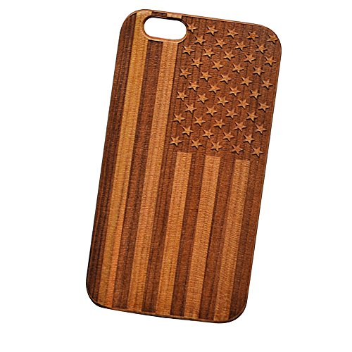 American Flag Engraved Cherry Wood Cover for iPhone and Samsung phones Wood - Samsung Note 4 (Wood Iphone 4 Case compare prices)