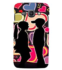 PrintVisa Romantic Love Kids 3D Hard Polycarbonate Designer Back Case Cover for Samsung Galaxy Core i8262