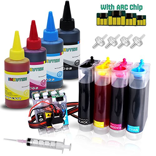 INKUTEN CIS CISS Continuous Ink Supply System For Epson 220 220XL T 222 T222 XL T220XL with extra 4x100ml for use in WF-2650 WF-2660