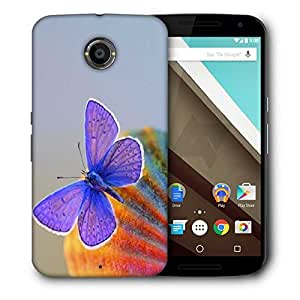 Snoogg Purple Butterfly Designer Protective Phone Back Case Cover For Motorola Nexus 6