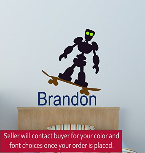 Boys Personalized Decal Skateboarder Sticker Robot Name Decal Boys Room Decal Teen Bedroom Decor Childs Room Girls Room (30 X 36 inches) (Personalized Wall Decal Robot compare prices)