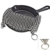 ALPHELIGANCE Cast Iron Cleaner- Stainless Steel Chainmail Scrubber for Pre Seasoned Skillet Pan,New Kitchen Tool for Washing Cookware (6 × 8)