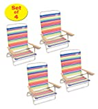 Rio High Back Beach Chair - 5 position LayFlat - Matching Set Of 4 1305