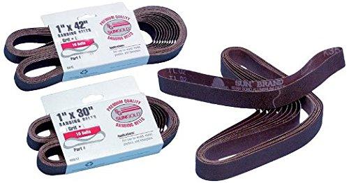 "Sungold Abrasives 038131 Assorted Grit Cloth Belt Premium Industrial Aluminum Oxide, 1 x 30"""