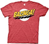 The Big Bang Theory Bazinga! Mens T-Shirt, Red Large