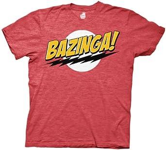 The Big Bang Theory Bazinga! Men's T-Shirt, Red Medium