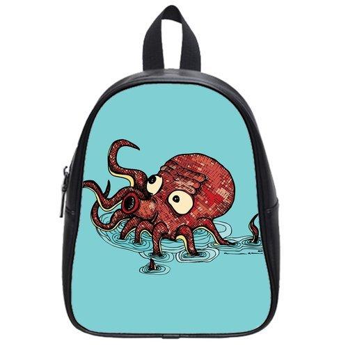 Generic Custom Coffee Octopus Blue Printed Black School Bag Backpack Fit Short Trip Pu Leather Large front-63031