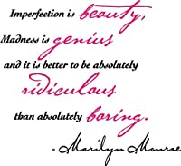 Marilyn Monroe Imperfection Is Beauty Wall Decal Quote Sticker 2 Color from Abeo Designs