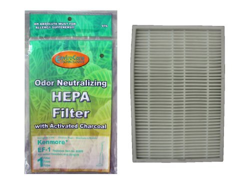 (100) Kenmore Sears EF 1 Pleated Vacuum HEPA Filter w/activated Charcoal, 86899 Progressive Vacuum Cleanser, C368KCNP1, 40324, 02080007000 by Kenmore (Kenmore Progressive 100 Vacuum compare prices)
