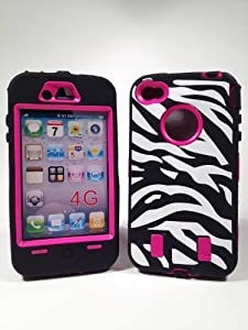Armored Core Zebra Print Case White/Black with Hot Pink Shell for Iphone 4/4S