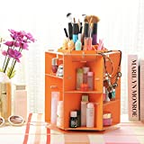 T-Queen DIY Wooden 360 Degrees Rotatable Holder Makeup Cosmetic Cylinder-Shaped Desk Storage Box Organizer Caddy (Orange)