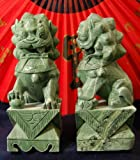 """6"""" Chinese Jade Temple Lions Statue Sculpture - 2pc Set"""