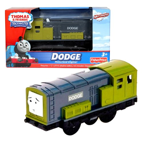 Fisher Price Year 2010 Thomas and Friends Trackmaster Motorized Railway Battery Powered Tank Engine Single Pack Train Set - DODGE the Olive Color Diesel Engine