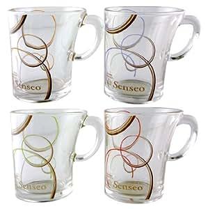 Lot de 4 Tasses SENSEO Douwe Egberts en verre - 4 couleurs - 180ml
