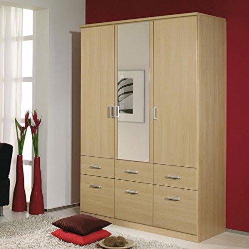 Kleiderschrank beige 3 Türen B 136 cm Buche hell Schrank Drehtürenschrank Wäscheschrank Spiegelschrank Kinderzimmer Jugendzimmer kaufen