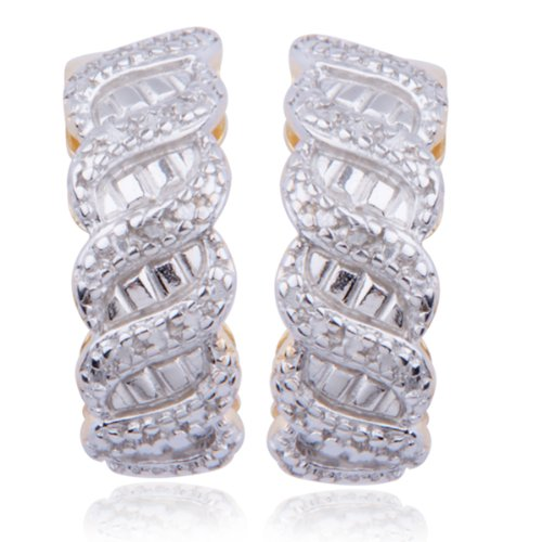 18k Yellow Gold Plated Sterling Silver Genuine Diamond Accent Post Earrings