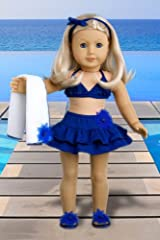 Bikini Mini - 4 piece bikini outfit includes skirt, bikini top, matching flip flops and beach blanket - Doll Clothes for 18 Inch Dolls