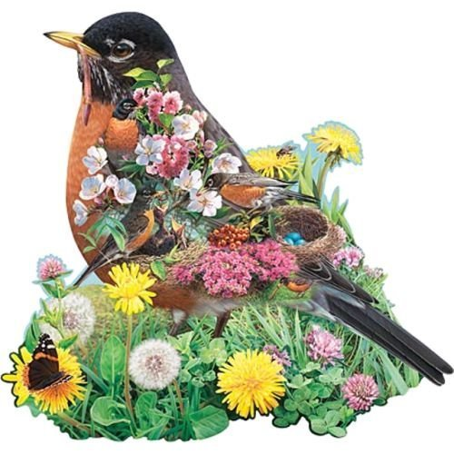 bits-and-pieces-robin-red-breast-750-piece-shaped-jigsaw-puzzle-by-russell-cobane-2003