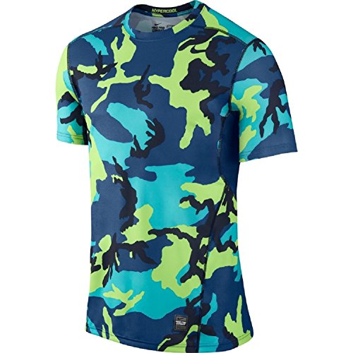Nike Men's Pro Hypercool Woodland Fitted Shirt (Medium, blue camo)