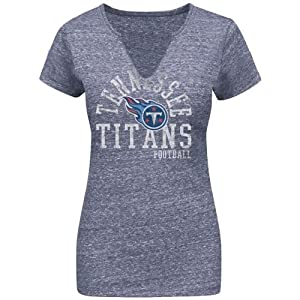 Tennessee Titans Ladies T-Shirt Majetic Tri-Blend Top by Majestic