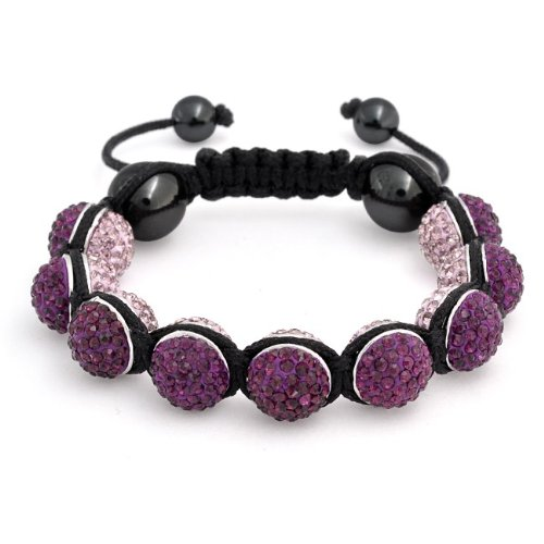 Bling Jewelry Reversible Amethyst Color Crystal Bead Shamballa Bracelet 12mm