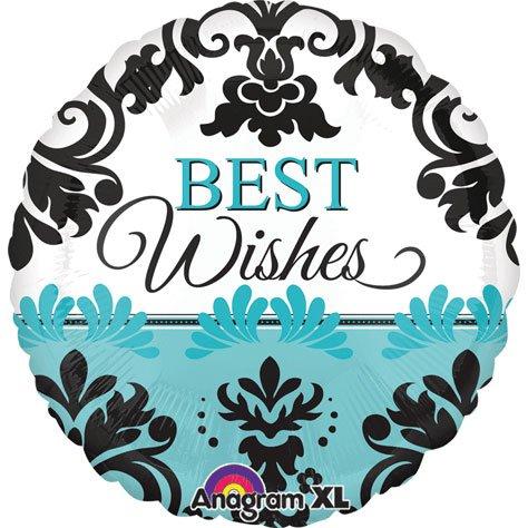 "Best Wishes Teal & Black Damask 21"" Mylar Foil Balloon"