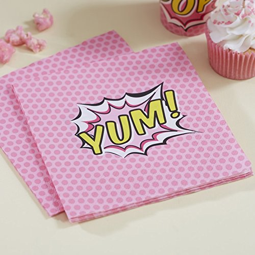 ginger-ray-rose-yum-x-20-serviettes-en-papier-pop-art-superhero-party