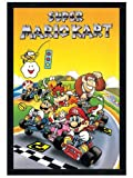 Gaming Black Wooden Framed Classic SNES Super Mario Kart Poster 61x91.5cm