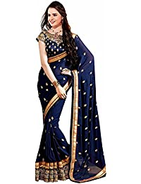 Sarees (Women's Clothing Saree For Women Latest Design Wear Sarees Collection In Neavy Blue Coloured Georgette...