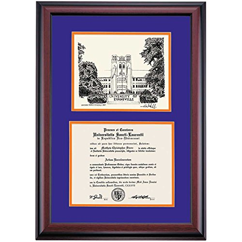 купить Evansville School Color Premier Olmsted Administration Hall Pen and Ink Diploma Frame недорого