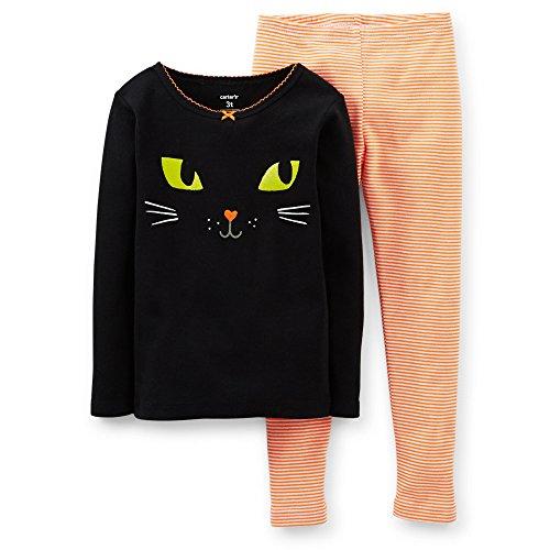 Carter'S Little Girls Halloween Kitty Pajamas Set (5 Toddler, Black Orange) (2 Toddler) front-855262