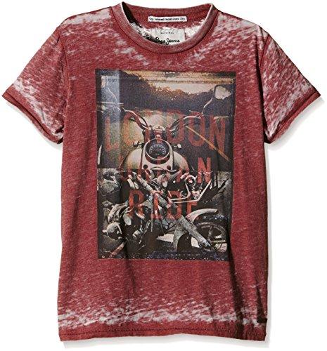 Pepe Jeans Jungen, T-Shirt, Tegan, GR. 176 (Herstellergröße: 16), Rot (bordeaux 298)
